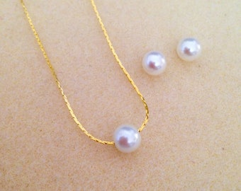 Floating Pearl Necklace & Stud Earrings Jewelry Sets - Wedding Jewelry, Bridesmaid Jewelry - Gold, Rose Gold