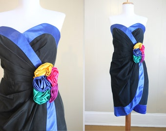 1980s Prom Dress Vintage Formal Mini Strapless Floral Corsage Rainbow Small