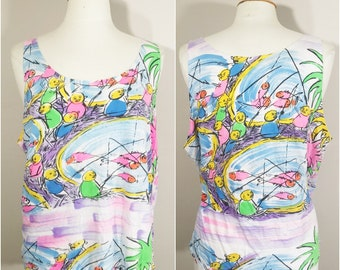 Watercolor Fishing Scene Novelty Print Tank by Exotique Fashions // Watercolor Pastel Bright and Bold Tank