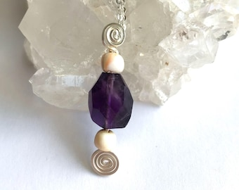 Amethyst & Sea Shell pendant with sterling silver chain