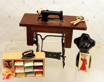 Miniature Dollhouse Sewing Machine Yarn Box Dress Form Sewing Notions Dollhouse Sewing Room