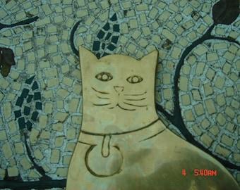 Vintage Brass Cat Shaped Trivet/Hotplate/Spoon Rest