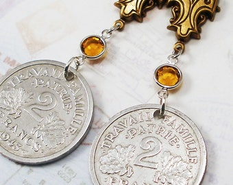 France, Vintage Coin Earrings --- World Traveller --- Old Money - French Coins - Reclaimed - Recycled - Boho - Travel - History - Francs