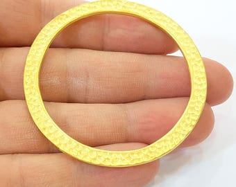Gold Hammered Circle Charm Pendant Gold Plated Circle (63mm)  G7889
