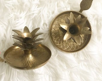 Vintage Pineapple Brass Candle Holders,  Pineapple Home Decor, Chamber Candlesticks, Boho Chic Decor