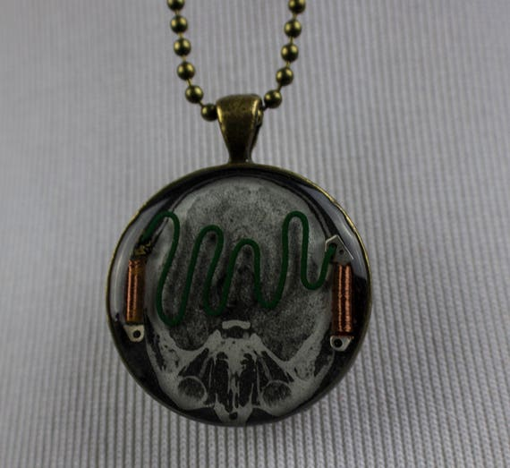 Frankenstein Collage Resin Cameo Necklace