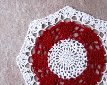 Red Hearts Crochet Lace Doily, Love Decor, New Table Accessory, Romantic, Valentine Hearts, Octagon Shape Design