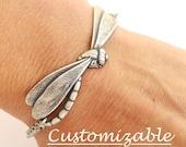 Bracelet libellule, boeuf en argent massif ou laiton vieilli Ox finition, Bracelet personnalisé