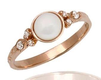 Delicate Engagement Ring, Pearl Diamond Ring, Engagement Ring, Diamond Engagement Ring, Pearl Wedding Ring, Diamond Ring, Bridal Ring
