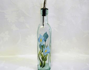 Oil decanter, decanter with calla lilies, hand painted oil bottle, large oil decanter, glass oil decanter,jars and containers,kitchen decor