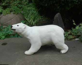 """Large Handcrafted White Glazed, Stoneware Polar Bear Sculpture by K. Miner ~ 12"""" L * 7"""" T Walking Polar Bear Sculpture ~ Signed & Numbered"""