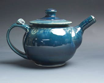 Handmade pottery teapot stoneware personal tea pot 24 ounce deep blue 4037