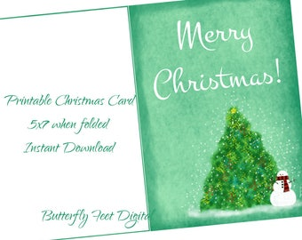 Printable Christmas Card, Mint Green with Holiday Tree and Snowman, 5x7 when Folded, Instant Download