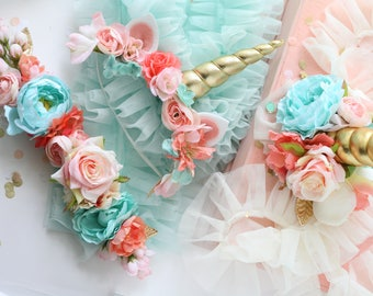 Horse unicorn horn, unicorn flower crown and bridle halter flowers and mane tail flowers  in blush pink coral aqua gold  photography prop