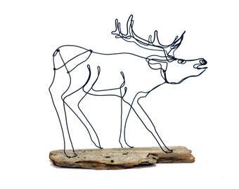 Elk Wire Sculpture, Wildlife Wire Art, Wire Folk Art, 571716929