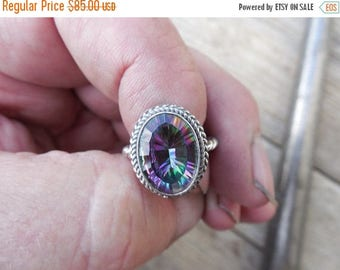 ON SALE Mystic topaz ring handmade in sterling silver