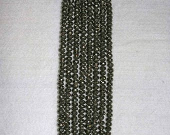 Pyrite, Pyrite Rondelle, Faceted Rondelle, Natural Stone, Sparkle Stone, Full Strand, 6mm, AdrianasBeads