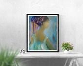 Bohemian dress Ukrainian lady Portrait Abstract figure art, figurative wall canvas lady teal green dress,feminine soft art figure shoulders