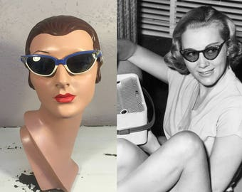 Over the Moon with Veronica Moon - Vintage 1950s Royal Blue & Ivory Lucite Cat Eye Sunglasses