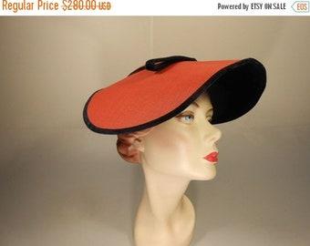 Anniversary Sale 35% Off She Had Her Reservations - Vintage 1950s Red & Black Velvet Oval Platter Dish Wide Brim Hat
