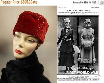 Anniversary Sale 35% Off Grand Duchess Marie Pavlovna - Vintage 1915 Crushed Red Silk Velvet Military Toque Hat w/Rhinestones - Museum Quali