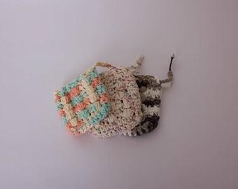 Soap Saver, Soap Sack, Massaging Soap Saver, Crochet Soap Pouch, 100% Cotton, Eco Friendly Bath Accessories