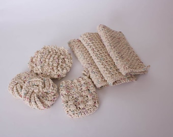 Eco Friendly Bath Set, Crochet Bath Set, Cotton Bath Set, Spa Set