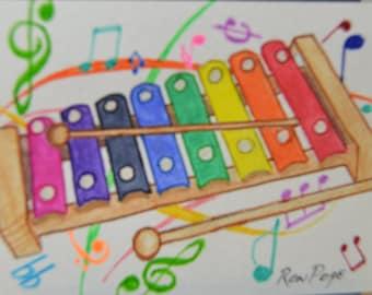 Original ACEO Watercolor Painting - Xylophone Watercolor Art