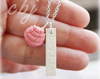 Latina Necklace, Latina Charm, Latina and Pan Dulce Charm Necklace, Pink Concha Necklace
