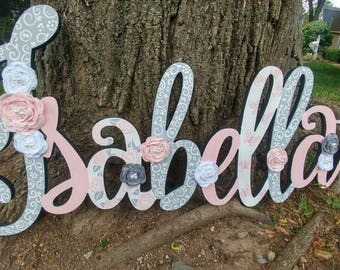 Custom Kids Name Sign - Nursery Wall Letters Name Sign - Wood Wall Letters Cursive Style - Large Custom Name Sign