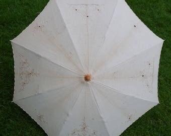 Vintage Beige Embroidered Lace Eyelet Umbrella Parasol