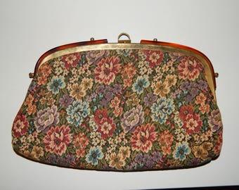 Vintage Floral Tapestry Clutch Handbag