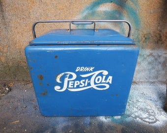 Vintage Cooler PEPSI COLA blue chest w/ bottle opener side drain 1950's The Coolest cooler you'll ever own
