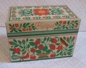 Vintage Metal Recipe Box, Hallmark, 1970s