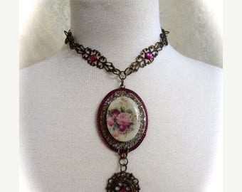 HUGE SALE Victorian Style OOAK Cameo Choker Necklace, Pink Roses with Writing Cameo Antique Bronze Filigree, Hot Pink Rhinestones, Handmade