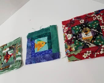 FREE SHIPPING - Beautiful Handmade Paper pieced squares - set of 3 -