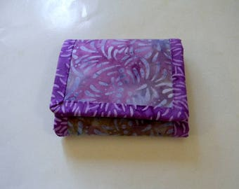 Lavender Leaf Batik Trifold Wallet