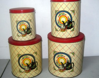 Vintage 1930s metal Canister Set of 4