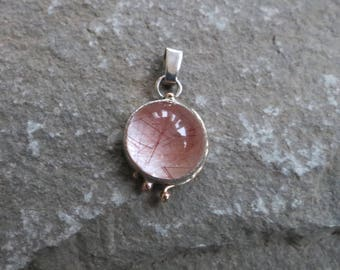 Sterling Silver, 14K Rose Gold and Rutilated Quartz Pendant