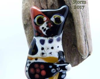 Handmade sculptural lampwork focal bead by Vanessa Hearn SRA UK - Patchwork Cat