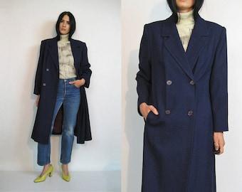 Navy Wool Peacoat / Vintage 80s Navy Blue Wool Coat / Long Wool Blazer Coat / Navy Double Breasted Coat / Menswear Maxi Coat