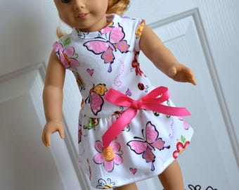 18 Inch Doll Clothes Two Piece Outfit Cotton Knit Sleeveless Drop Waist Dress With Gathered Skirt and Matching Panties by SEWSWEETDAISY