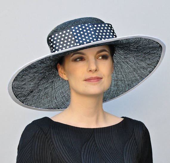 Kentucky Derby Hat, Wedding Hat, Derby Hat, Black and White Hat, Polka Dot Hat, Church Hat, Formal Hat