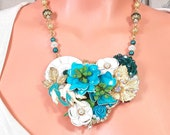 Collage jewelry necklace set, earrings, bib necklace, vintage style, turquoise, teal, white flowers