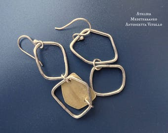 Drop Earrings in Brass And Sterling Silver Wire With Irregularly Shaped Elements 04