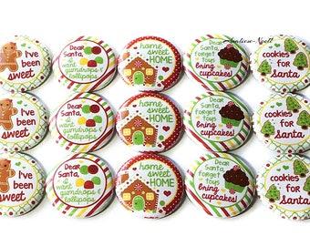 "Christmas Treat Magnet, 1"", Button Magnet, Gingerbread House, Gingerbread Man, Christmas Cupcake, Christmas Cookie, Christmas Magnet, Xmas"