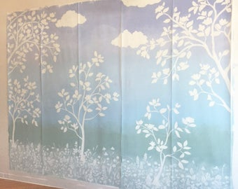 """Ombre Hand painted """"Cheeky Chinoiserie""""  Magnolia and wildflowers silhouette wallpaper aprox 9'x11'"""