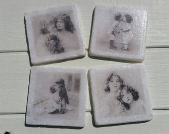 Victoriana Little Children Coaster Set of 4 Tea Coffee Beer Coasters