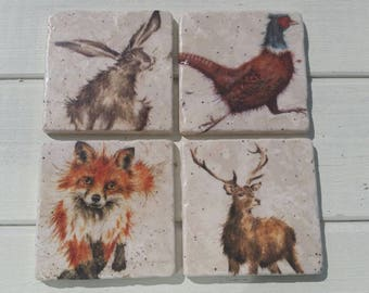 Country Fox, Pheasant, Deer and Hare Stone Coaster Set of 4 Tea Coffee Beer Coasters