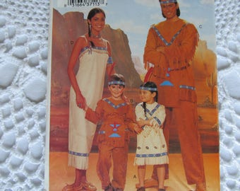 Halloween Costume Butterick P375 Indian Costume Childs Boys Girls Size XS S M L Small Medium Large Native American
